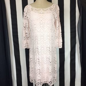 Lauren Ralph Lauren pink crochet dress lace sz L